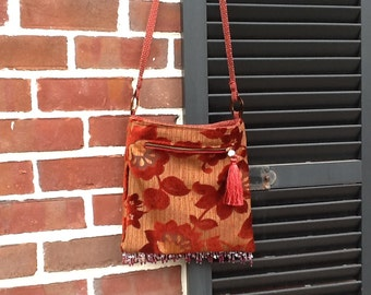 Boho Sling Messenger bag, hippie bag, tasseled bag, boho bag, Gypsy bag.  crossbody indie bag with beaded fringe.