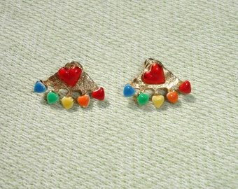 Vintage Multi Colored Heart Post Earrings -  FREE Shipping
