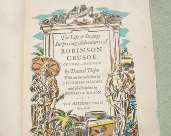 Vintage 1930 Robinson Crusoe Book - Antique Book