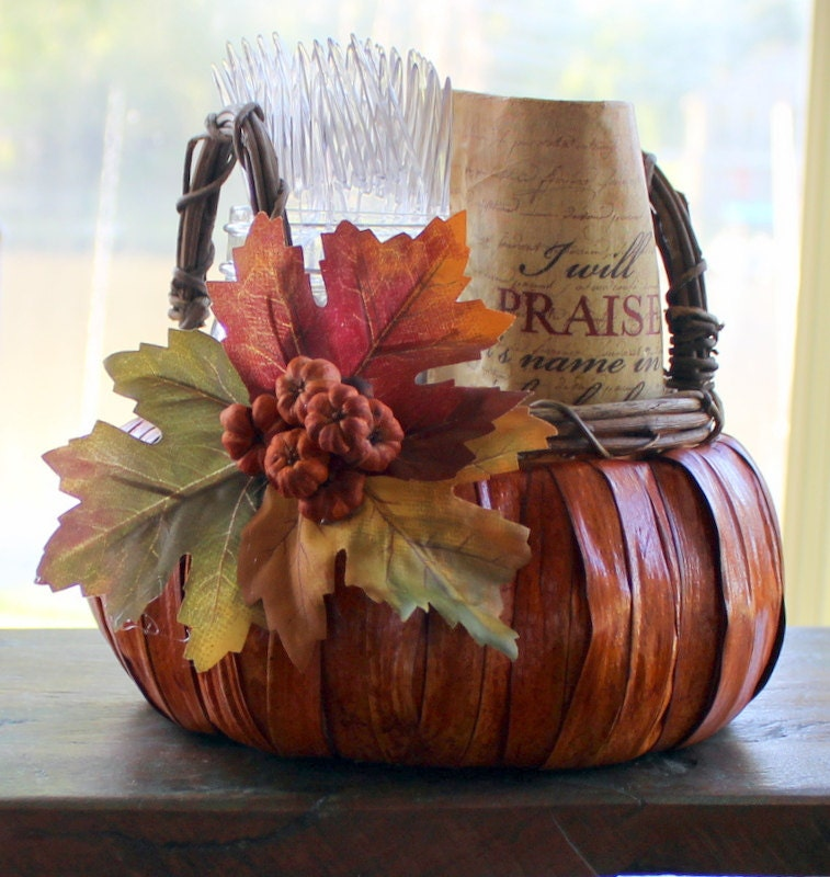 Fall pumpkin basket table centerpiece by oursweethomealabama