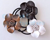 Pretty lady's leather flower ponytail hair ties - brown, black and white
