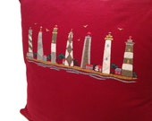 Lighthouses - upcycled maroon Tshirt pillow cover - 16 x16 inch pillow case