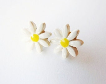 Daisy ceramic earrings small white yellow stud posts Spring Summer