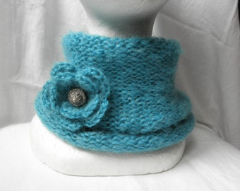 Turquoise neck warmer,very soft,hand knit,seamless,with flower brooch,for woman,for girl,blend wool