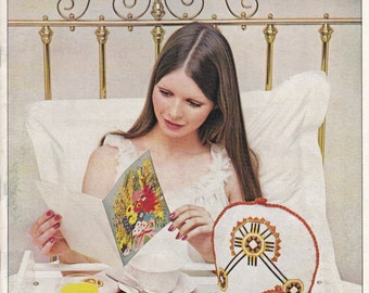 Bedroom Embroidery  - Embroidery Crafting Magazine Vintage 1970s
