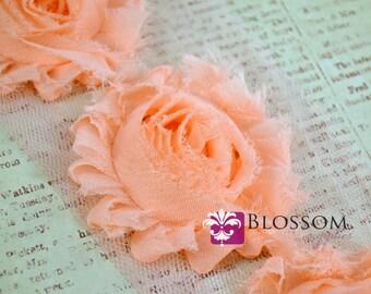 1/2 or 1 YARD Increment - PEACH - Chiffon Shabby Rose Trim - Frayed Flowers - Headband Flowers