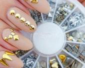 Gold & Silver Box Rivets Nail Art 3D Design Decoration Metallic Studs