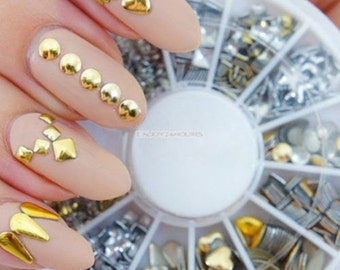 Gold & Silver Box Rivets Nail Art 3D Design Decoration Metallic Studs