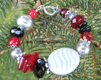 red, black, gray, and silver chunky beaded bracelet. ready to ship, handmade, gifts for women, gifts for mom, jewelry for women