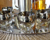 7 Sleek Mad Men Ombre Silver Cocktail Glasses Set of 7 Mid Century Bar