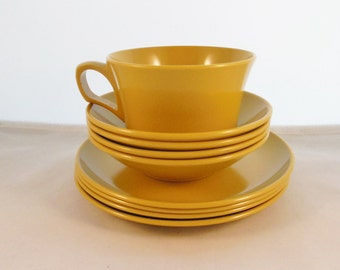 Allied Chemical Melmac Lot of  Bowls Plates and a Cup 9 Pieces Gold Unbreakable Dinnerware