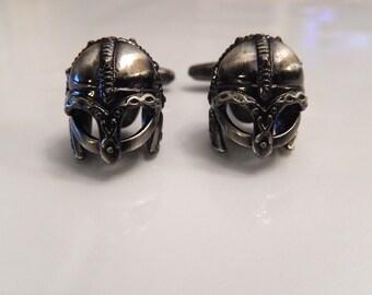 Viking Battle Helmet Cufflinks, War Cufflinks, Wedding Cuff Links, Father's Day Cuff Links, Graduation Gift