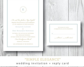 Simple Elegance Printed Wedding Invitations | Wedding Suite Invitation and Additional Pieces | Printed or Printable by Darby Cards