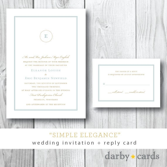 Simple Elegance | Wedding Suite Invitation and Additional Pieces | Printed or Printable by Darby Cards
