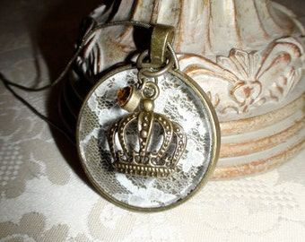 Round Vintage Style Gem and Crown Pendant Necklace with Lace Inlay