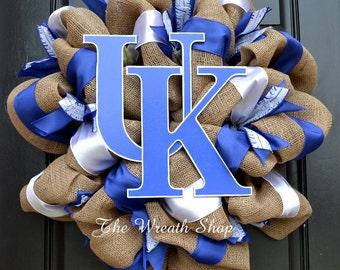 University of Kentucky Wreath on Burlap - Collegiate Wreath