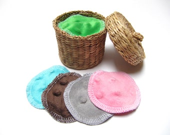 Reusable Facial Rounds, Cosmetic Rounds With Minky Backing, Minky Flannel Facial Pads, Make up Remover Pad, Add On WASH BAG, Set of 50 or 60