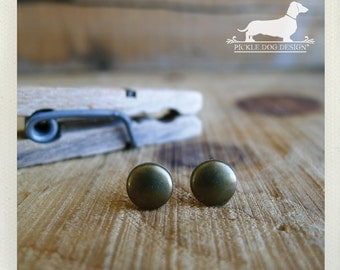 Brassed. Post Earrings -- (Brass Studs, Brown, Small, Simple, Modern, Minimalist, Classic, Round, Vintage Style, Fall, Unisex Gift Under 10)