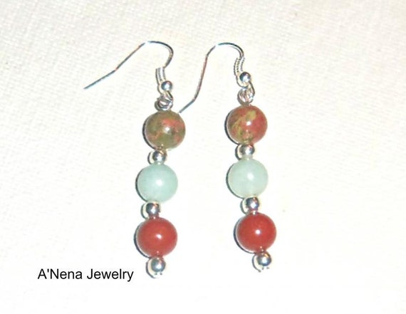 "A Set Of Earrings:Handmade  Unakite, Amazonite and Red Jasper""Strong"""