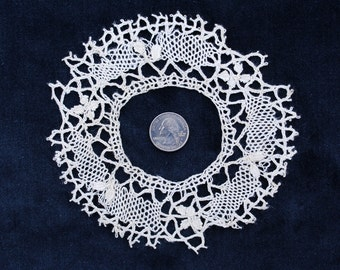 Circular French lace border in creamy café au lait, for making a little dressing table mat or doily