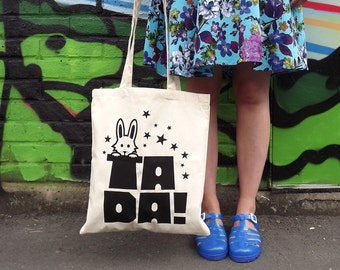 Tada Tote Bag, Rabbit in a Hat Tote, Cute Magic bag, white rabbit tote bag, screenprinted tote bag, typography tote, handprinted animal bag