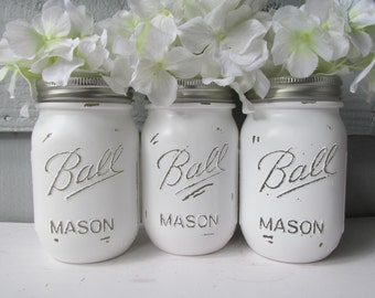 Painted and Distressed Ball Mason Jars- White Set of 3-Flower Vases, Rustic Wedding, Centerpieces