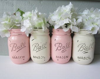 Painted and Distressed Ball Mason Jars- Pale Pink and Cream-Set of 4-Flower Vases, Rustic Wedding, Centerpieces