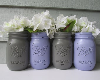 Painted and Distressed Ball Mason Jars- Gray and Light Pale Pastel Purple-Set of 4 Flower Vases, Rustic Wedding, Centerpieces