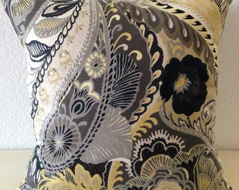 """Richloom Giverny Paisley in Yellow Black Grey White, Beautiful Home Decor Fabric, Accent Pillow, Single Pillow Cover 18x18"""" Free US Shipping"""