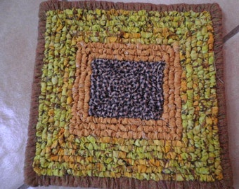 Hand Woven  Large 8 x 8 Inch  Pot Holder,  Batik FabricTable Mat, Autumn Table Rug, Black Eyed Susans Table Protecter