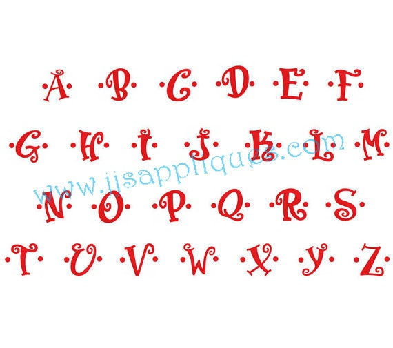 Instant Download - Fonts - Embroidery Font Designs - Boingo Font Designs Capital Letters, Dotted, Decorated Fonts, 5 inches tall