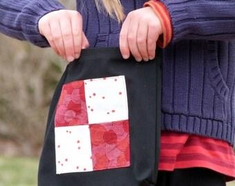 Kids Explorer Bag, Handmade Childs Tote, Toddler Nature Walk Bag in Black, Red, and White
