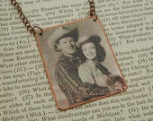 Roy and Dale necklace Roy Rogers Dale Evans western jewelry  mixed media jewelry