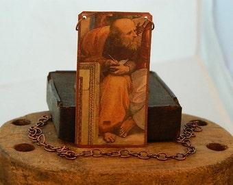 Greek Philosopher jewelry Anaximander art jewelry School of Athens mixed media jewelry