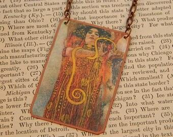 Klimt necklace art necklace Hygeia jewelry mixed media jewelry