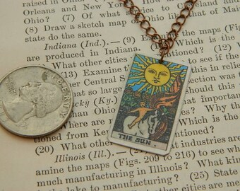 Tarot necklace tarot jewelry The Sun minimalist jewelry mixed media jewelry supernatural