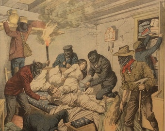 Antique 1903 French Newspaper Colour Supplement LE PETIT JOURNAL 1900s Burglary Robbers Gang Masked Men Crime No.643 Cross Country Running
