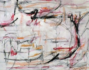 Landscape - Red 3-28-14b  (abstract expressionist painting, pastel, red, yellow, white, cream)