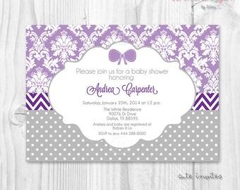 Damask lavender purple baby shower girl printable invitation lavender purple and grey polka dot