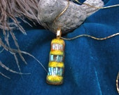 Gustav yellow dichroic glass necklace pendant on 18k sparkly gold gp chain