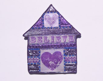 Mixed Media Polymer Clay Mosaic Beaded House Wall Art
