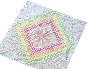 Modern Rainbow Quilt - Cross Quilt - Heather Ross Fabric - Baby Crib Quilt - Play Mat