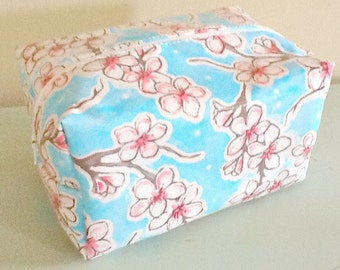 Waterproof Floral Cosmetic Bag - Cosmetic Pouch - Laminate Makeup Bag - Tula Pink Fabric