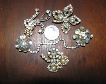 Vintage Destash Rhinestone Jewelry Craft Lot