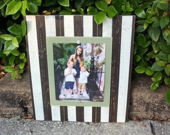 Distressed Picture Frame, Father's Day Gift, 8x10 Frame, Brown & Sage Picture Frame,  8x10 Picture Frame, Striped Frame