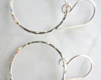 1 Pair Circle Earrings--24 mm Sterling Silver
