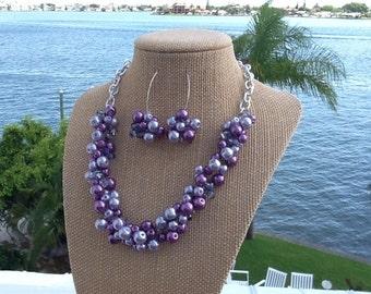 Purple Statement Necklace, Set, Purple, Bridesmaid Necklace, and Earring Set, Wedding Jewelry Set