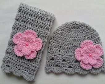 Crochet Baby Toddler Kids Hat and Scarf Set gift grey pink