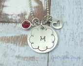 Personalized Initial Necklace Hand Stamped Monogram Birthstone necklace
