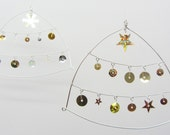 Gorgeous wire and sequin hanging ornament for Christmas tree or wedding decoration - MULTI PACK of 5
